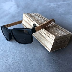 Black Sunglasses with Wood Arms